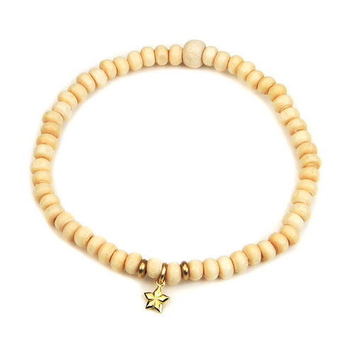 not to worry teeny tiny ivory wood bracelet gold dipped lucky star