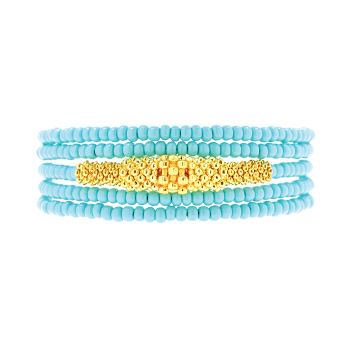 not to worry turquoise and gold bead wrap bracelet