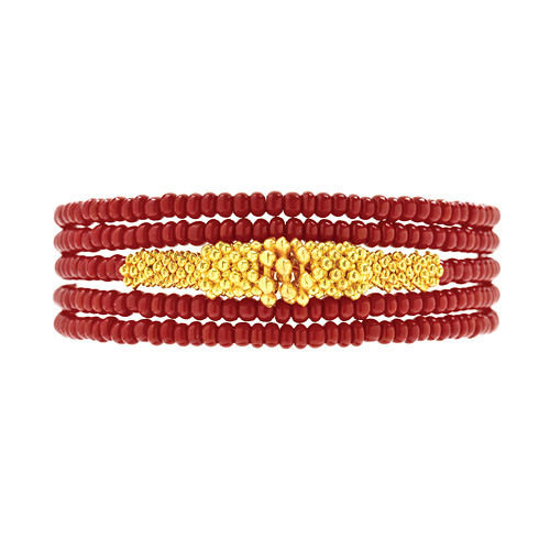 not to worry black cherry and gold bead wrap bracelet