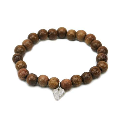 wood bracelet in teak with sterling silver mini stone heart