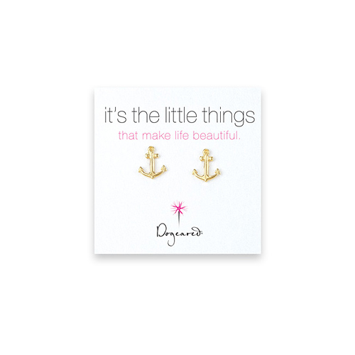 small anchor stud earrings, gold dipped