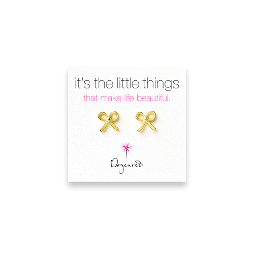 small bow stud earrings, gold dipped