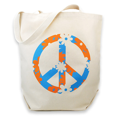 peace sign reusable tote bag