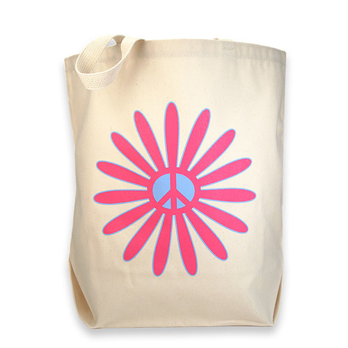 flower power reusable tote bag