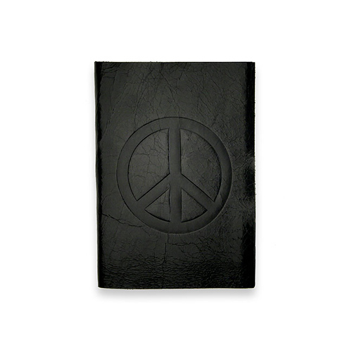 small peace journal with black leather