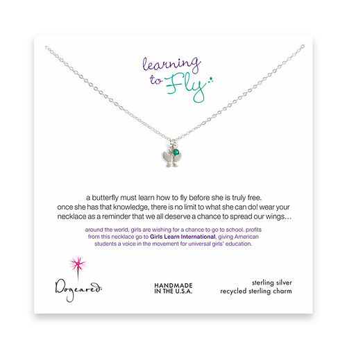 learning to fly sterling silver necklace with butterfly and green onyx bead