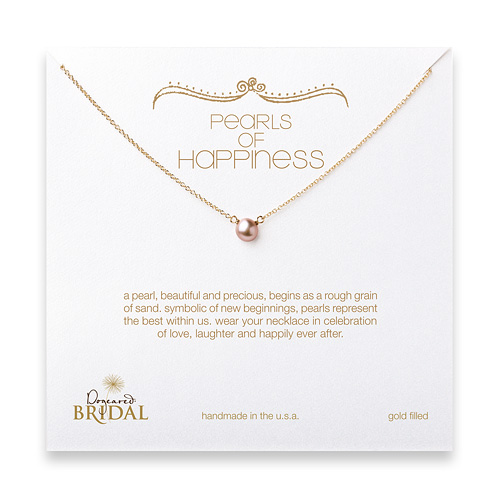 bridal pearls of happiness rose pearl necklace, gold dipped