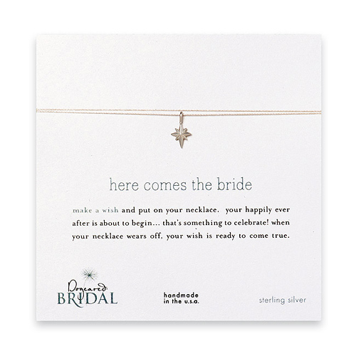 here comes the bride make a wish bridal necklace with sterling silver north star on creme