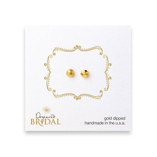 bridal faceted stone stud earrings, gold dipped