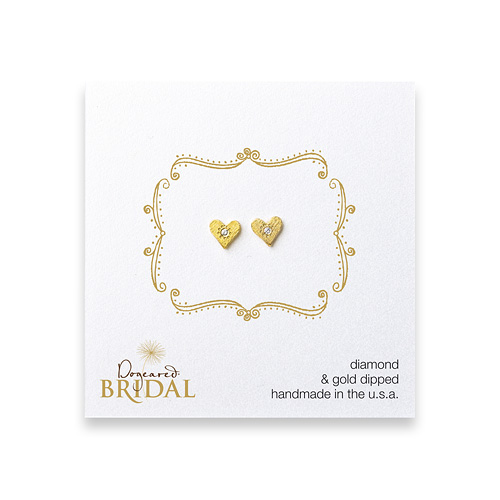 bridal heart diamond stud earrings, gold dipped