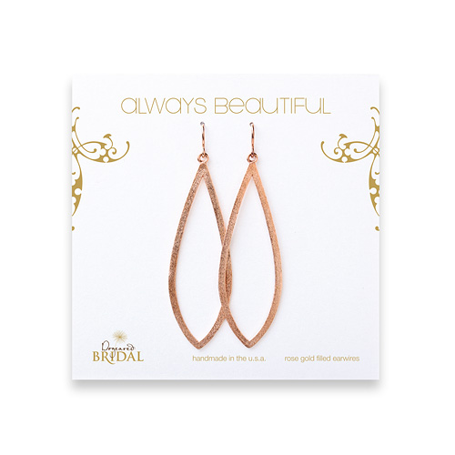 bridal earrings, always beautiful petal, rose gold dipped
