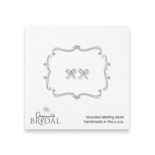 bridal bow stud earrings, sterling silver