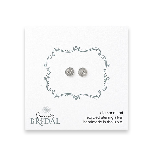bridal circle diamond stud earrings, sterling silver