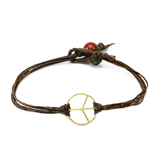 peace bracelet gold dipped on irish linen tobacco
