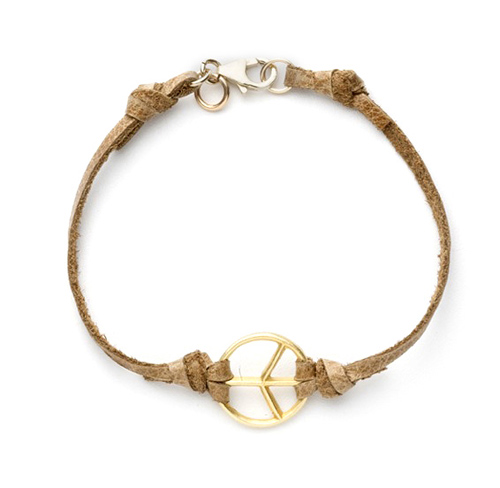the gold dipped leather peace bracelet