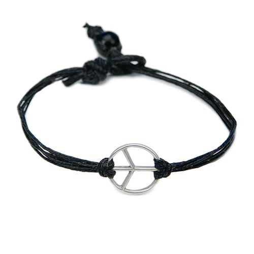 peace bracelet sterling silver on black irish linen