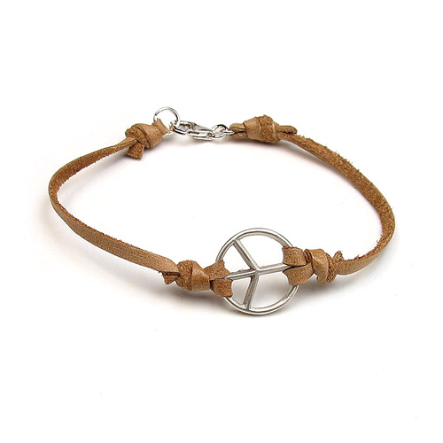 peace bracelet sterling silver on latte leather