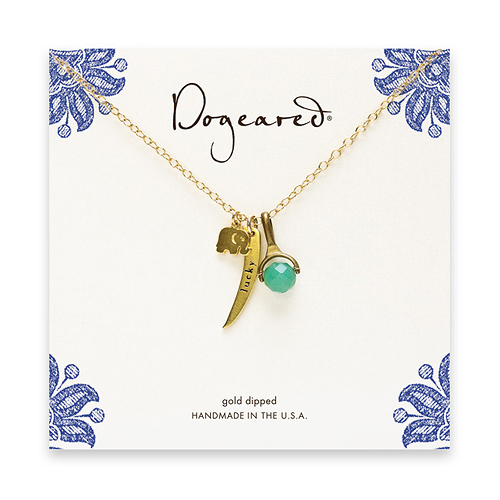 dogeared collection gold dipped 3 charm necklace - elephant, lucky, aventurine - 18 inches