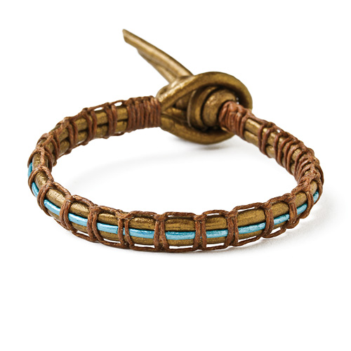 leather collection bronze and teal metallic parallel bracelet