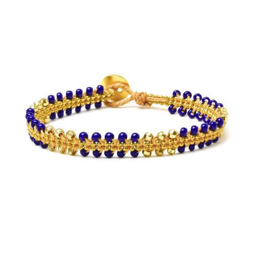 gifts to go collection gold dipped chain & parallel navy bead bracelet