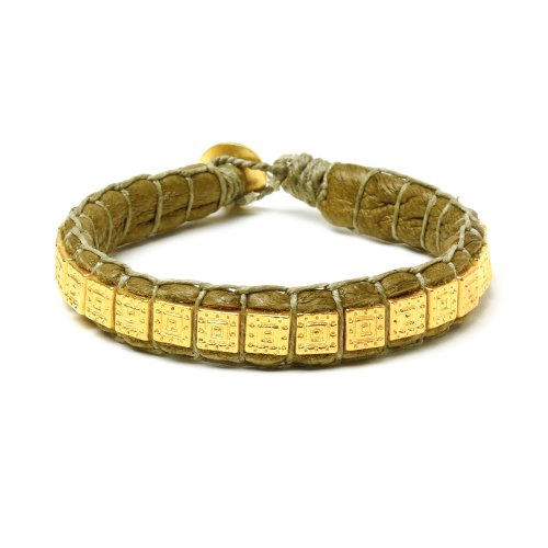 gifts to go collection gold dipped square bead &amp; olive leather bracelet