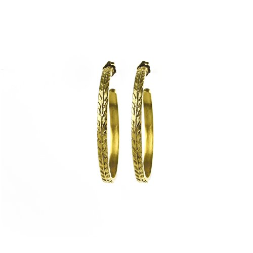 gifts to go collection medium gold dipped wheat hoop earrings