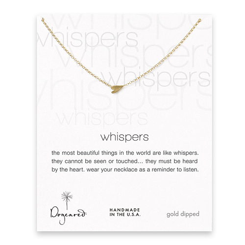 whispers sideways heart necklace, gold dipped