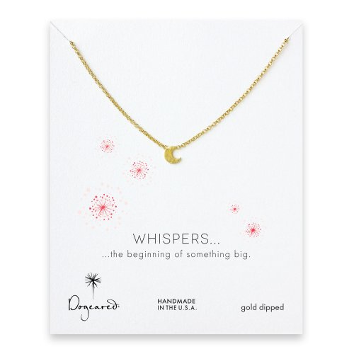 whispers moon necklace, gold dipped