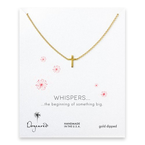 whispers small cross necklace, gold dipped
