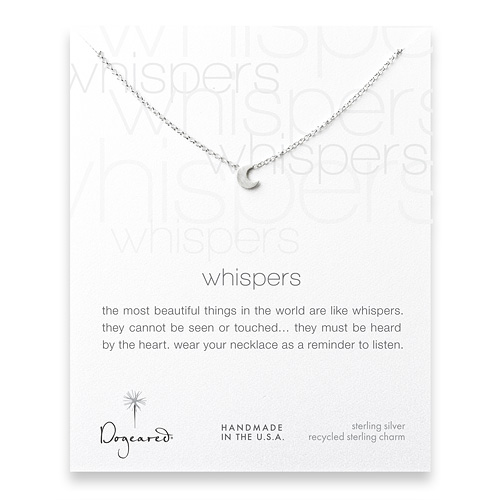 whispers moon necklace, sterling silver