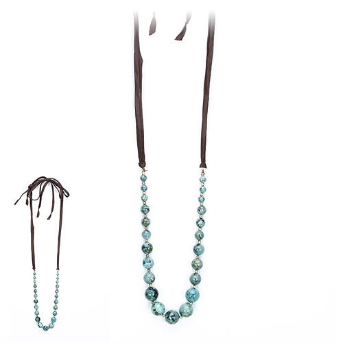 love bead necklace with turquoise beads, chocolate silk tie - 60 inches