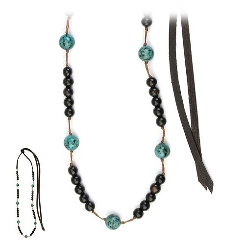 love bead necklace with ebony wood, turquoise beads - 66 inches