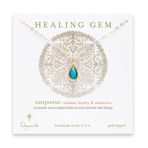turquoise teardrop healing gem gold dipped necklace - 20 inches