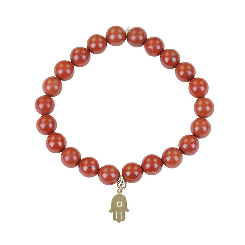 red jasper small goddess bracelet with hamsa