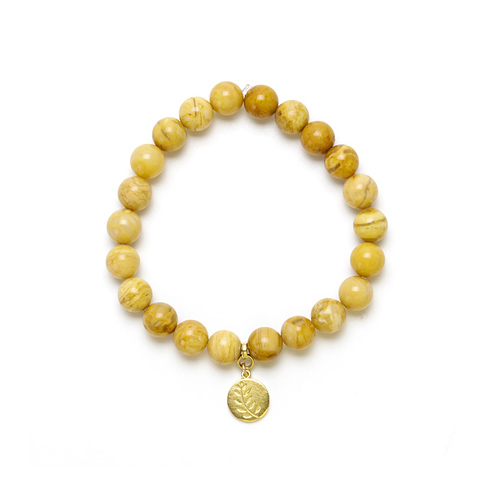 yellow jasper small goddess bracelet with wheat