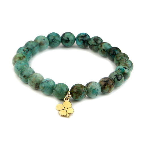 turquoise small goddess bracelet with four leaf clover