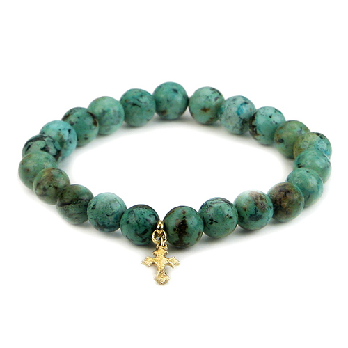 turquoise small goddess bracelet with gothic cross