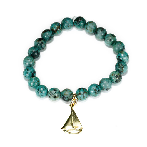 turquoise small goddess bracelet with sailboat