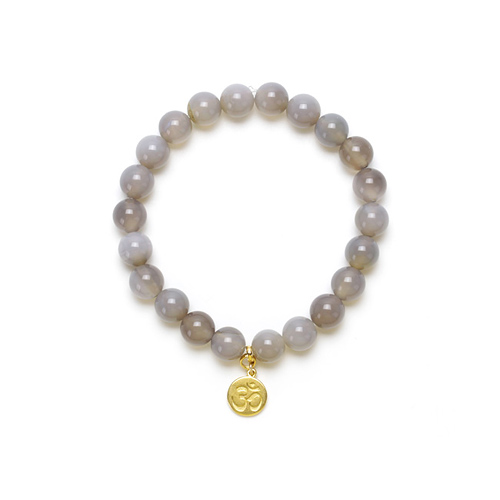 gray onyx small goddess bracelet with om symbol