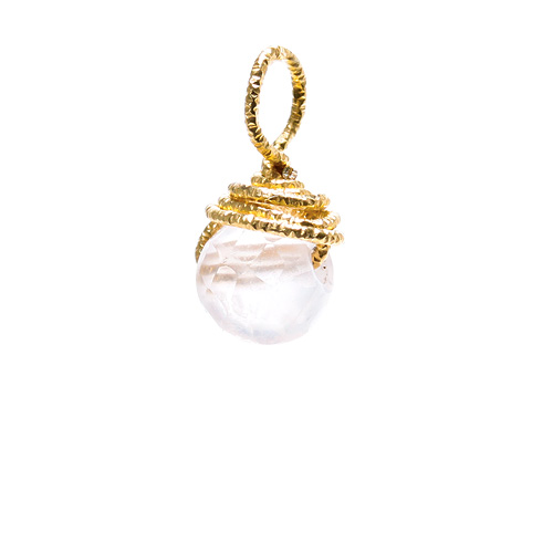 rose quartz round gem, gold dipped