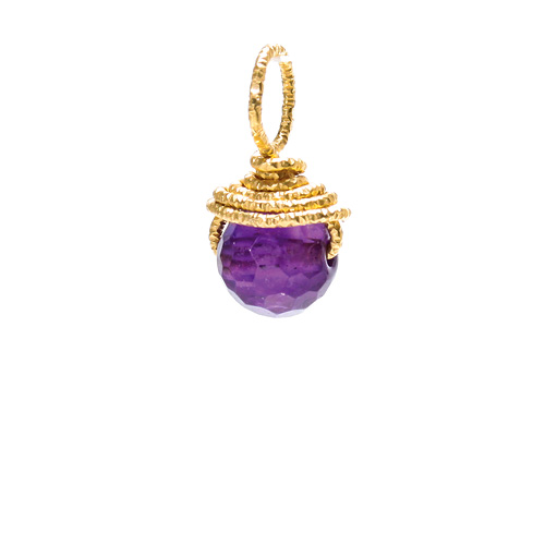 amethyst round gem, gold dipped