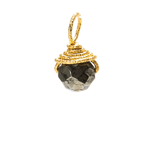 pyrite round gem, gold dipped