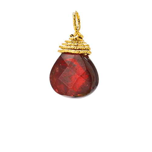 garnet briolette gem, gold dipped
