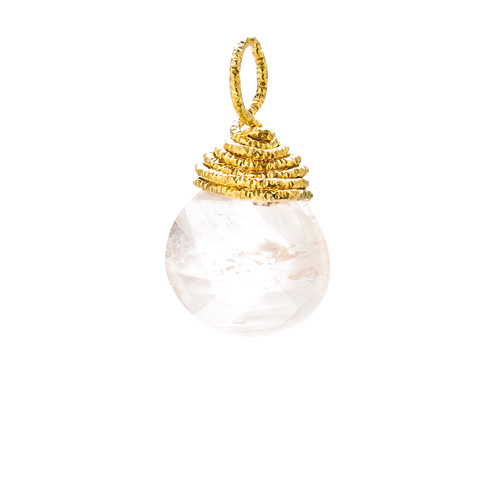 rose quartz briolette gem, gold dipped