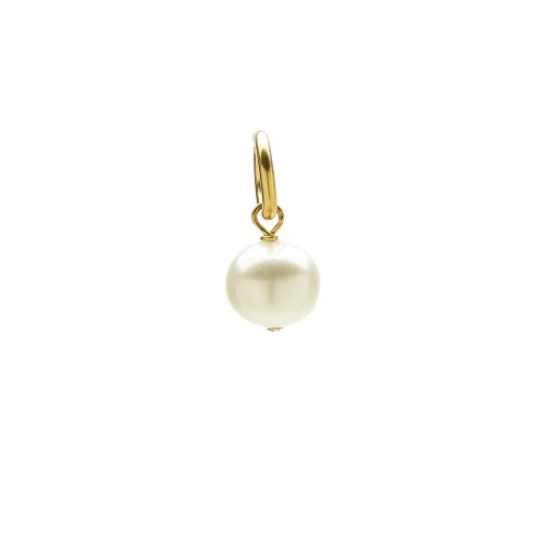white pearl charm, gold dipped