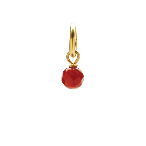 carnelian round faceted gem, gold dipped