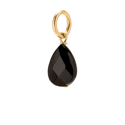 black onyx teardrop gem, gold dipped