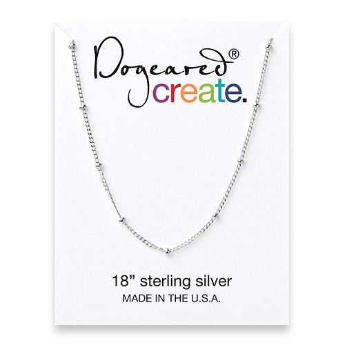 create beaded chain, sterling silver - 18 inches