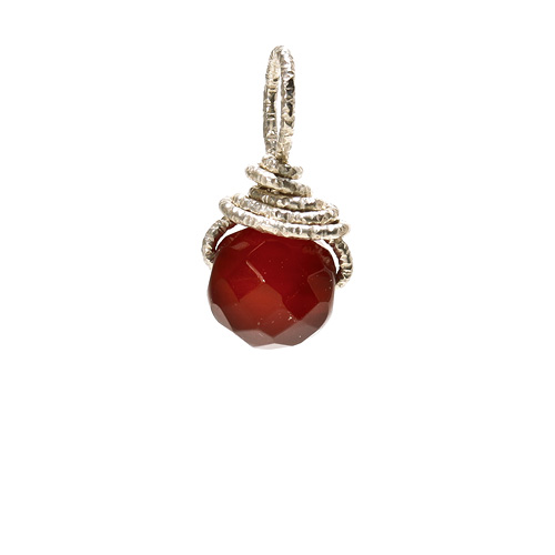 carnelian round gem, sterling silver