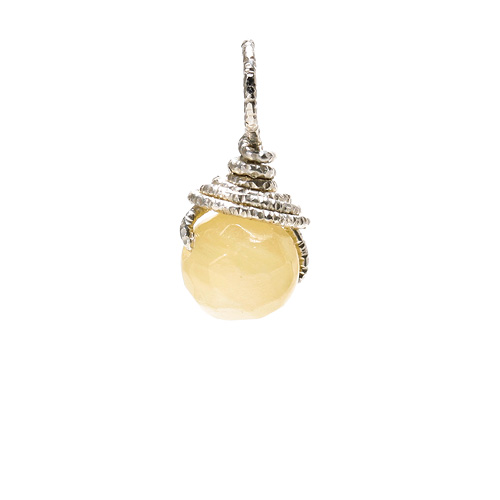 yellow jade round gem, sterling silver